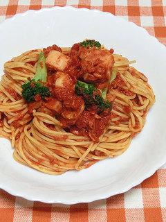 カゴメ 濃厚あらごしトマトで、簡単トマトソースのパスタ完成