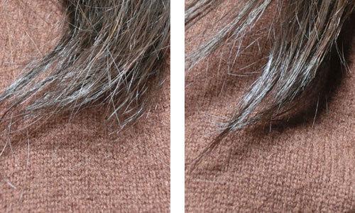 デミ パタゴニックオイル イセベルグ モイスト、ヘアオイルの使用前・使用後の髪