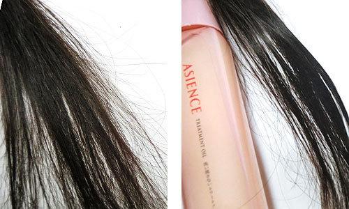 アジエンス うる艶浸透ケアオイル、使用前の髪と使用後の髪