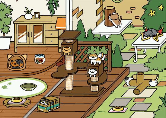 ねこあつめ ウッドデッキに模様替え後(もようがえ)/スマホアプリ・猫の無料ゲーム